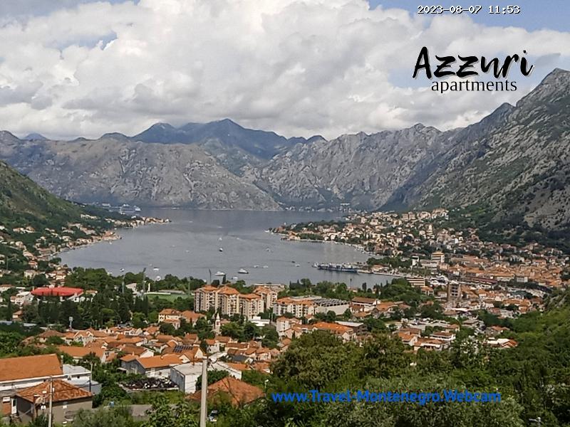 Веб-камера показывает Котора показывает порт-марину и панораму Боко-Которской бухты